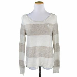 Abercrombie Cream Gold Striped Wool Blend Sweater